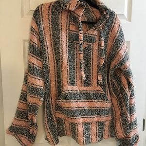 Poncho XL pink and grey
